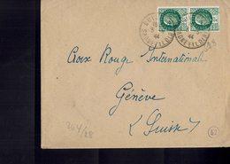 Lettre Postée à CUISERY (Saône & Loire) à L'intention De La Croix Rouge Internationale à Genève - Censure Allemande- - France