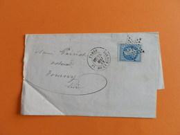 EMPIRE LAURE 29 SUR LETTRE DE PARIS (PLACE DE LA BOURSE) A TOURNY DU 25 MAI 1869 (ETOILE 1) - Marcophilie (Lettres)