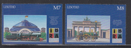 1999 Lesotho Germany Philately Trains Locomotives  Complete Set Of  2 MNH - Lesotho (1966-...)