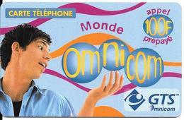 CARTE-PREPAYEE-100F-OMNICOM-MONDE-HOMME-06/01/2002-GRATTEE-TBE - France