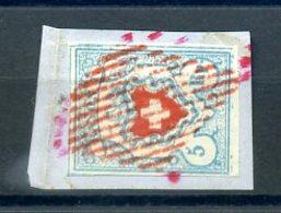 SUISSE  N° 20 OBLITERATION ROUGE RARE SUR FRAGMENT - 1843-1852 Timbres Cantonaux Et  Fédéraux
