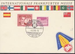 BERLIN   141, 178, Auf Sonderkarte Frankfurter Messe, Mit SoStempel: Frankfurt Int. F.Messe 6.3.1958, + Messe-Vignette - Berlin (West)