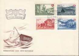 SCHWEIZ 508-511 MiF Auf Brief Mit Stempel: Automobil Postbureau 3 22.VI.1948 - Pro Patria