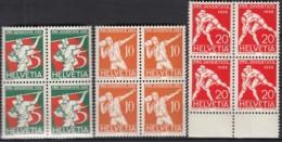 SCHWEIZ  262-264, 4erBlock, Postfrisch **, Pro Juventute 1932: Volkssport - Ungebraucht