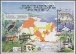 BHUTAN  Block 441, Postfr **, Internationale Briefmarkenausstellung HONG KONG 2001: Ökologische Vielfalt Bhutans 2001 - Bhoutan