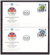 Isle Of Man 1994 Olympics FDC's 100 Year IOC Swimming Skiing Bike - Olympic Games