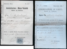 N° 2 RICEVUTE CANONE MENSA VESCOVILE + CONGREGAZIONE DI CARITA 1922 -1923 RUVO DI PUGLIA - Italia