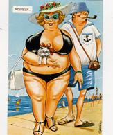 CPSM Couple En Vacances Femme Forte Grosse Homme Heureux Pipe Illustrateur L. CARRIERE N° 50408(2 Scans) - Carrière, Louis