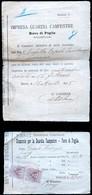 N° 2 RICEVUTE CANONE PER LA GUARDIA CAMPESTRE 1915 E 1918  RUVO DI PUGLIA - Italia