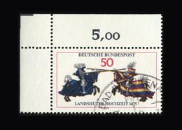BRD 1975, Michel-Nr. 844, 500 Jahre Landshuter Fürstenhochzeit, 50 Pf., Eckrand Oben Links, Gestempelt, - Gebraucht