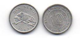 Congo - 10 Sengi 1967 UNC Lemberg-Zp - Congo (Democratic Republic 1964-70)