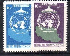 XP4327 - IRAN PERSIA 1958,  Serie Yvert N. 919/920 ***  Onu - Iran