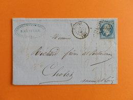 EMPIRE DENTELE 22 SUR LETTRE DE NANTES A CHOLET DU 28 SEPTEMBRE 1863 (GROS CHIFFRE 2602) - Postmark Collection (Covers)