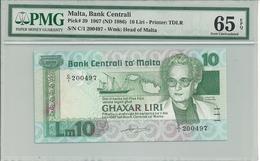 Malta 10 Liri 1967 (1986) P39 Graded 65 EPQ By PMG (Gem Uncirculated) - Malta
