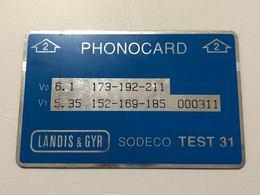 ISRAELE - Bezeq - Test & Service Cards - TEST CARD LANDIS & GYR SODECO TEST 31 Without Notch  1988-09 AS IMAGINE - Israel