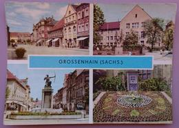 Grossenhain - Multiview - Freuenmarkt, Dianabrunnen, VVN-Gedenkstatte Und Neue Berufschule, Blrumenuhr - Nv G2 - Grossenhain