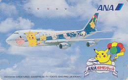 TC Japon / 110-016 - AVION - NINTENDO POKEMON - PICACHU - ANA AIRLINES - Japan Phonecard / Aviation Balloon - 11141 - BD