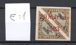 Estland Estonia 1923 Michel 44 Ba ERROR Abart E: 1 * Signed K. Kokk - Estland