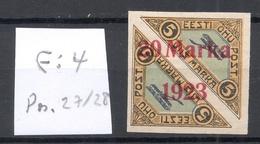 Estland Estonia 1923 Michel 44 Ba ERROR Abart E: 4 * Signed K. Kokk - Estland
