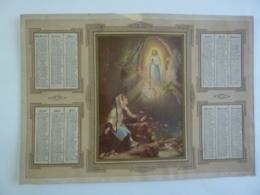 ALMANACH 1876 CALENDRIER  CHROMO ALLEGORIE  Religieuse      L'apparition De La Vierge  Bernadette à Lourde   Chem 3-18 - Calendars