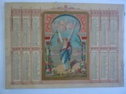 ALMANACH 1875  CALENDRIER  CHROMO ALLEGORIE  Religieuse    ANGE Et Angelots   Chem 3-18 - Calendriers