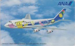 TC Japon / 110-016 - AVION - NINTENDO POKEMON - PICACHU - ANA AIRLINES Japan Phonecard / Aviation - 11145 - Comics