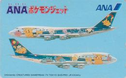 TC Japon / 110-016 - AVION - NINTENDO POKEMON - PICACHU - ANA AIRLINES Japan Phonecard / Aviation - 11146 - Comics