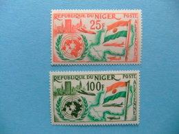 Niger 1961 Aniversario De Entrada En La ONU Yvert PA 19 / 20  ** MNH - Níger (1960-...)