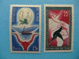 Tchad 1959 Flor Del Algodón Solidadidad Comunitaria Yvert 60 / 61 ** MNH - Chad (1960-...)