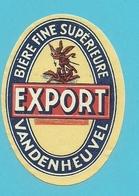 """Brasserie - Brouwerij : étiquette Ancienne Bière Belge """"Vandenheuvel """" Export : Bière Superieure - Bière"""