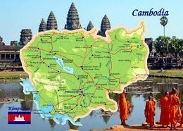 Cambodia Country Map New Postcard Kambodscha Landkarte AK - Cambodge