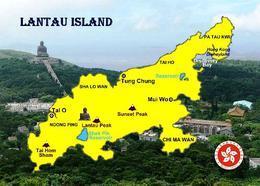 China Lantau Island Map Hong Kong New Postcard Landkarte AK - Chine (Hong Kong)