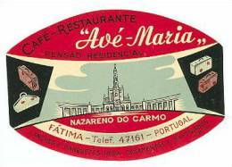 Etiquette Valise Hotel PENSAO RESIDENCIAL AVÉ-MARIA Fatima Portugal Luggage Label - Etiquettes D'hotels