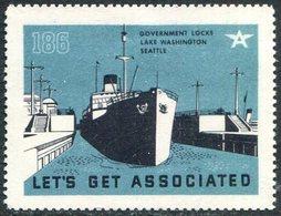 USA Seattle Lake Washington Locks #186 Liner Ship Steamship Steamer Dampfer Schiff Navire Vignette Poster Reklamemarke - Ships