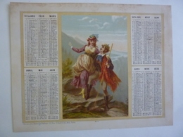 ALMANACH 1874  CALENDRIER   ALLEGORIE  Idylle  Promenade Couple Chromo -Lithographie Duverge-Dubois   Chem 3-21 - Calendriers