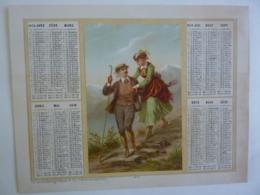 ALMANACH 1874  CALENDRIER   ALLEGORIE  Idylle  Promenade Couple Chromo -Lithographie Duverge-Dubois   Chem 3-23 - Calendriers