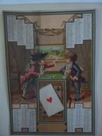 CHROMOS ALMANACH   1885 CALENDRIER  CHROMO  ALLEGORIE  ENFANTS LA PARTIE DE CARTE   Signée J Bognard   Sem 3-31 - Calendriers