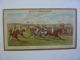 CHROMOS ALMANACH   1884 SEMESTRIEL  CHROMO A PYGMALION  ALLEGORIE  La Course De Cheveaux  Sem 3-31 - Calendriers