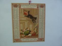 CHROMOS ALMANACH  1884  CALENDRIER GRANDS MAGASINS DE NOUVEAUTES A LA VILLE DE PARIS PUBLICITE ENFANT CHAT   Sem 3-32 - Calendriers