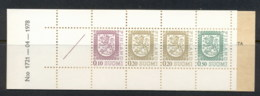 Finland 1975-90 Arms Of Finland Booklet 1x10, 2x20, 1x50 1 Label '78 MUH - Finland