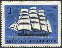 USA Clipper #1 Sailing Ship Segelschiff Klipper Clíper Voilier Vignette Poster Reklamemarke - Ships
