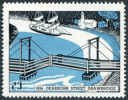 USA History 1834 Chicago Drawbridge #23 Zugbrücke Pont-levis Sailing Ship Segelschiff Vignette Poster Reklamemarke - Bridges
