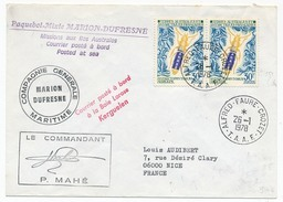 TAAF - Enveloppe Affr. Composé - Alfred Faure Crozet / Marion Dufresne - 26-1-78 - Terres Australes Et Antarctiques Françaises (TAAF)