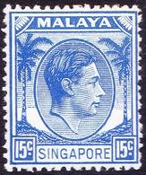 SINGAPORE 1948 KGVI 15c Ultramarine SG8  MH - Singapore (...-1959)