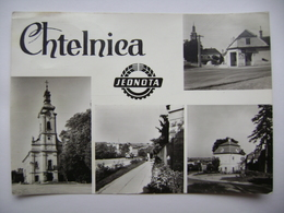 Chtelnica (Piestany County) - Kostol, Pohostinstvo Jednota, Ulica - 1971 Used - Slovaquie