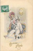 Bonne Année - Pierrot Et Colombine - Edition R.M. Ancre - Carte Illustrée Série 208 - Nouvel An