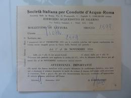 """Ricevuta """"Società Italiana Per Condotte D'Acqua, Roma ESERCIZIO ACQUEDOTTO DI SALERNO"""" 1959 - Italia"""