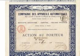 75-APPAREILS AUTOMATIQUES WAGONS CHEMINS De FER. 1884 - Actions & Titres