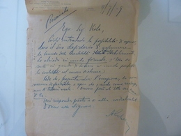 """Lettera Manoscritta """"UNIONE ITALIANA FRA CONSUMATORI E FABBRICANTI DI CONCIMI E PRODOTTI CHIMICI"""" 1919 - Italia"""