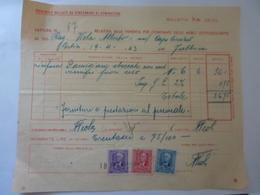 """Fattura """"MONTECATINI Stabilimento Di Pontecagnano ( Salerno )"""" 1943 - Italia"""